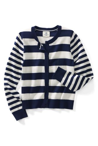 Little Girls' Long Sleeve Stripe Cardigan