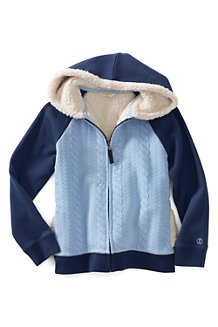 Girls' Long Sleeve Cable Quilted Sherpa Hoodie