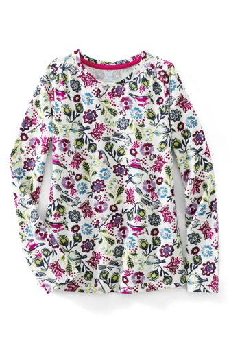 Little Girls' Patterned Gathered Shoulder Tee