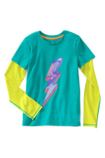 Girls' Long Sleeve Activewear Layering Tee