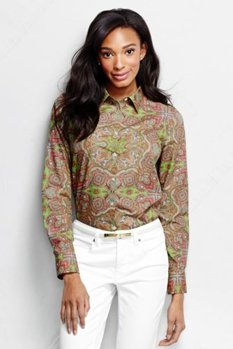 Women's Regular No Iron Paisley Pattern Shirt