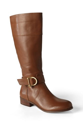 Womens Wide Classic Riding Boots - 5.5 - BROWN Lands End kDxPOMOoPE
