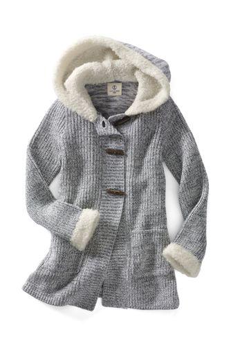 Little Girls' Long Sleeve Hooded Duffle Cardigan