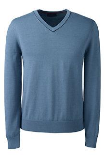 Men's Fine Gauge Tipped V-neck Sweater