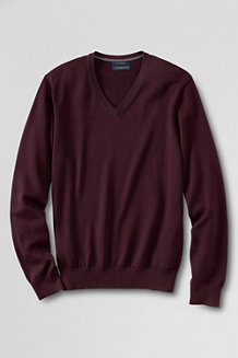 Men's Fine Gauge Tipped V-neck Sweater