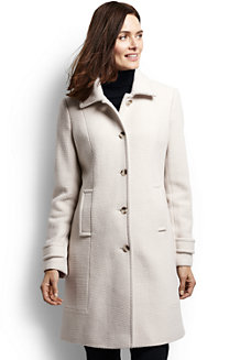 Women's Basket-weave Wool Blend Car Coat