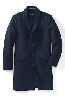 Men's Wool Blend Peak Lapel Topcoat