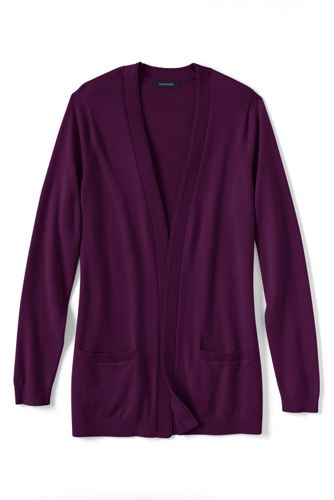 Women's Regular Fine Gauge Cotton Open Cardigan