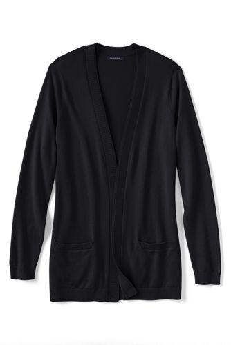 Le Cardigan Ouvert en Coton Fine Maille Femme, Taille Standard