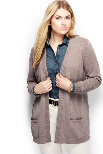 58d52d1242 Women s Plus Size Cotton Open Drape Cardigan Sweater - Alpaca Heather