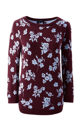 Women's Supima®Three-Quarter Sleeve Floral Jacquard Crew Neck