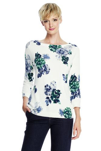 Le Pull Supima® Jacquard Floral Col Rond Manches 3/4 Femme, Taille Standard