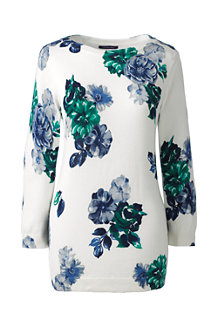 Le Pull Supima® Jacquard Floral Col Rond Manches 3/4 Femme