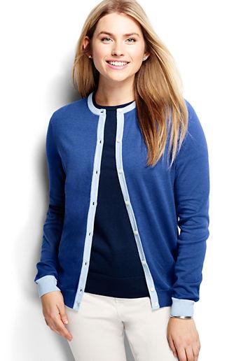 ... Women s Plus Size Supima Colorblock Cardigan Sweater - Vibrant Cobalt  Colorblock 844a6a7b0