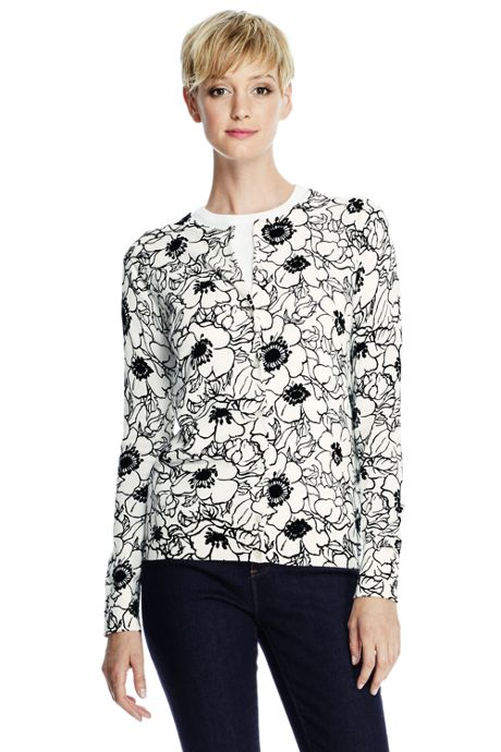 Women's Classic Supima Print Cardigan Sweater