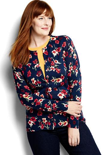 1cc0ba0058 Women s Plus Size Supima Print Cardigan Sweater - Celestial Blue Floral