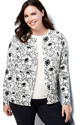 56038294b3 ... Blue Floral · Women s Plus Size Supima Print Cardigan Sweater -  Ivory Black Floral