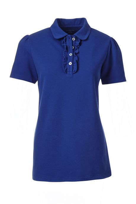 Women's Petite Short Sleeve Ruffle Placket Polo