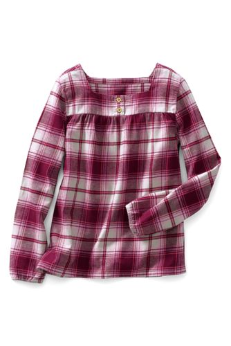 Little Girls' Long Sleeve Gathered Yoke Flannel Shirt