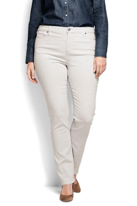 Women's Plus Size Mid Rise Straight Jeans - Garment Dye