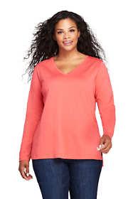 Women's Plus Size Long Sleeve Tunic Top  Supima Cotton V-Neck