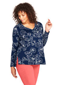 Women's Plus Size Long Sleeve Tunic Top  Supima Cotton V-Neck Print