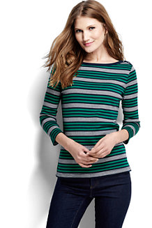 Women's Three Quarter Sleeve Boatneck Stripe