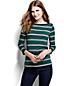 Women's Three Quarter Sleeve Boatneck Stripe T-shirt