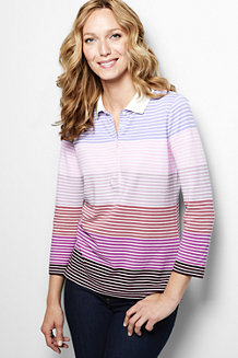Women's Three Quarter Sleeve Multi Stripe Piqué Polo