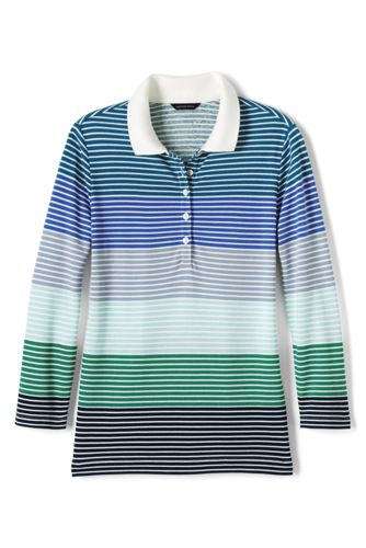 Women's Regular Three Quarter Sleeve Multi Stripe Cotton-modal Piqué Polo