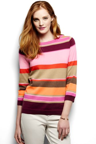 Women's Regular Fine Gauge Supima®Stripe Crew Neck