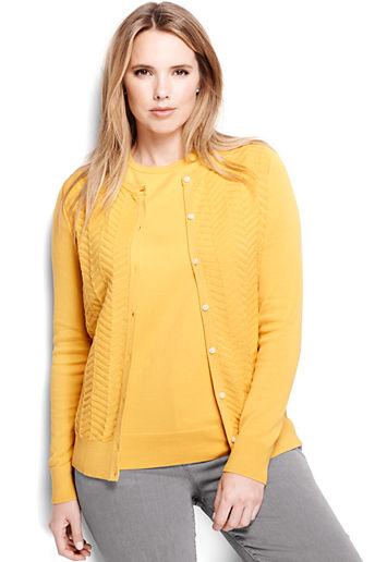 fee5ffde8b Women s Plus Size Supima Textured Cardigan Sweater - Soft Mineral Yellow  Chevron