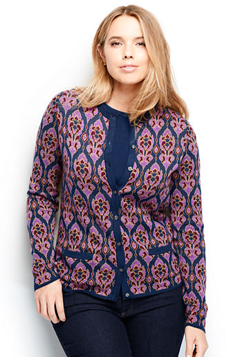 ... Black Tapestry · Women s Plus Size Supima Cardigan Sweater - Purple  Snow Heather Tapestry d8cc78b95