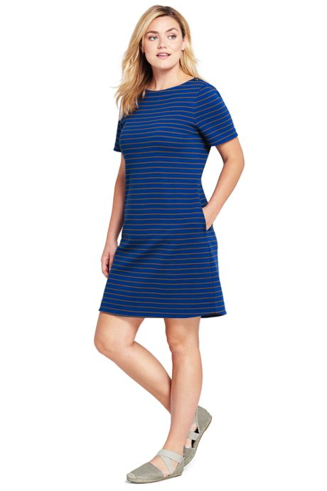 Women's Plus Size Short Sleeve Knit Stripe Shift Dress