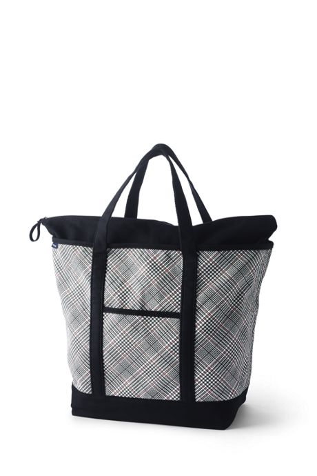 Print Zip Top Canvas Tote Bag