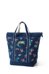 Large Print Zip Top Canvas Tote Bag