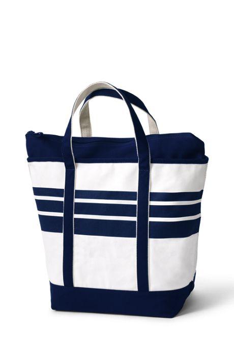 Print Zip Top Canvas Tote Bag