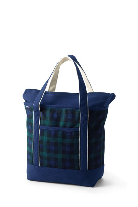 Medium Print Zip Top Canvas Tote Bag