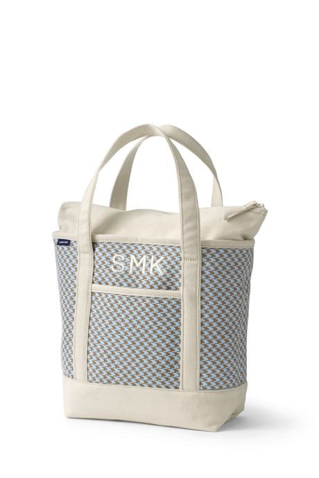 Medium Print Zip Top Canvas Tote Bag