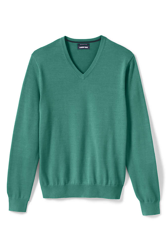Men's Big & Tall Classic Fit Fine Gauge Supima Cotton V-neck Sweater, Front