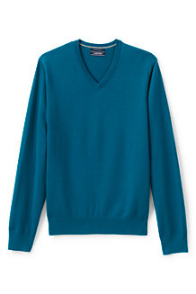 Men's Plain Fine Gauge V-neck Jumper