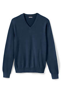 Men's Classic Fit Fine Gauge Supima Cotton V-neck Sweater, Front