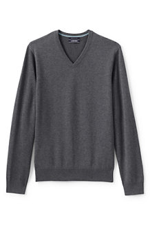 Men's Plain Fine Gauge V-neck Sweater