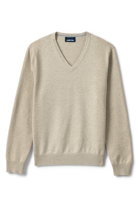 Men's Tall Classic Fit Fine Gauge Supima Cotton V-neck Sweater