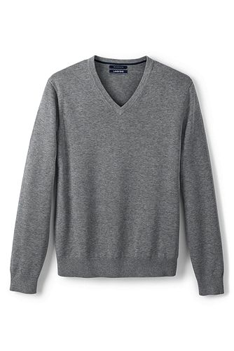 Fine Gauge Supima Cotton V-neck Sweater 467903: Pewter Heather