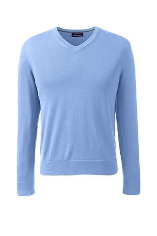 Fine Gauge Supima Cotton V-neck Sweater 467903: Light Bluebell