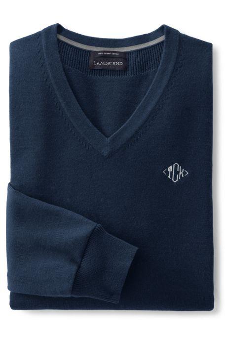 Men's Big & Tall Classic Fit Fine Gauge Supima Cotton V-neck Sweater