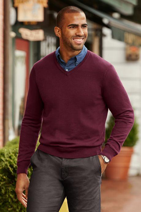 Men's Tall Classic Fit Fine Gauge Supima Cotton V-neck Sweater