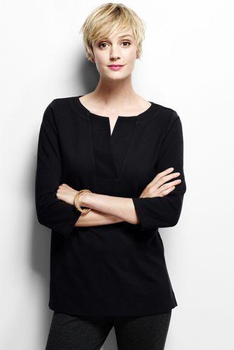 Women's Regular Three Quarter Sleeve Split Neck Tunic