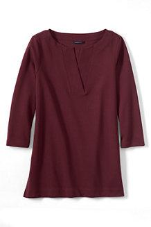 Women's  Three Quarter Sleeve Split Neck Tunic